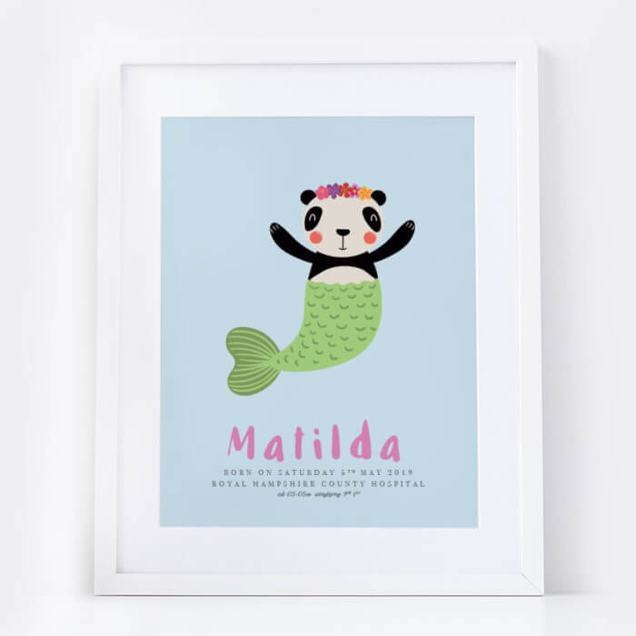 New Baby Girl Panda Mermaid Name Print