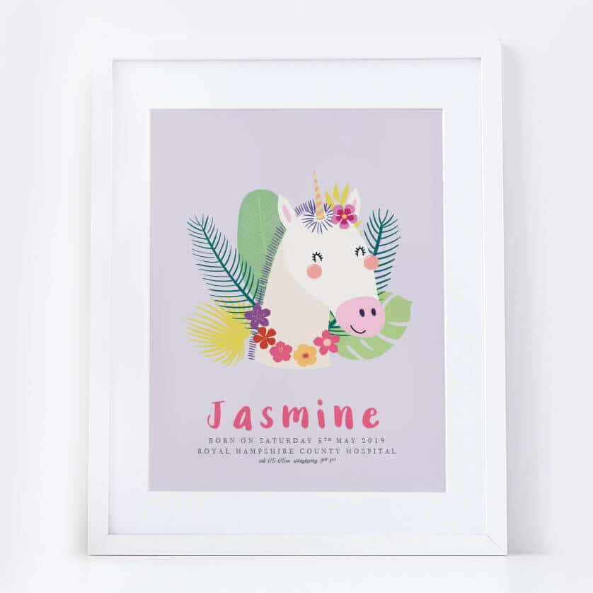 New Baby Girl Unicorn Name Print