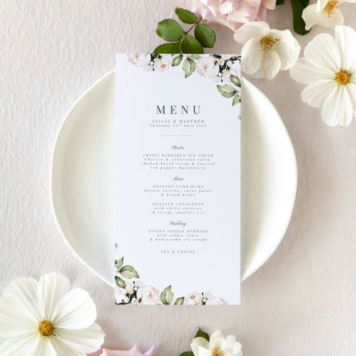 foliage and blush wedding menus