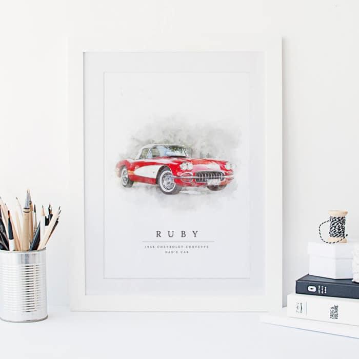 Personalised Watercolour Car Print