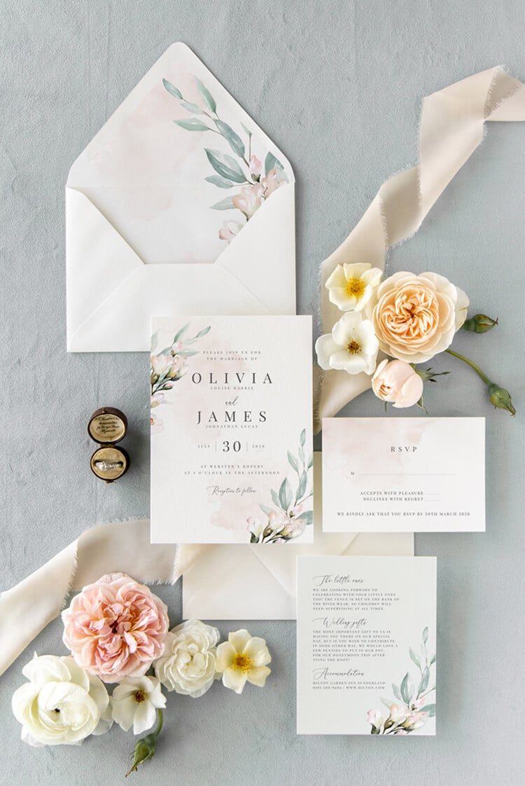 Blush and Sage wedding invitation design