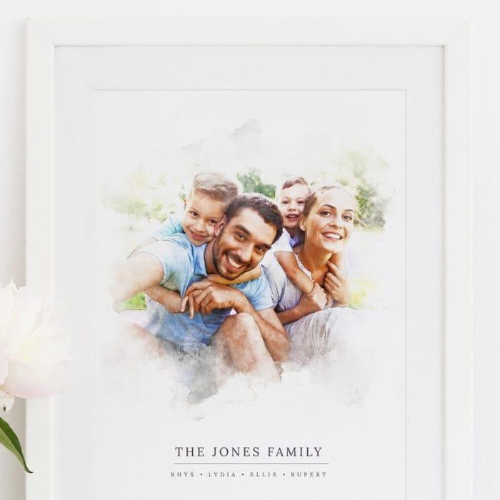 Bespoke watercolour Family Portrait Print