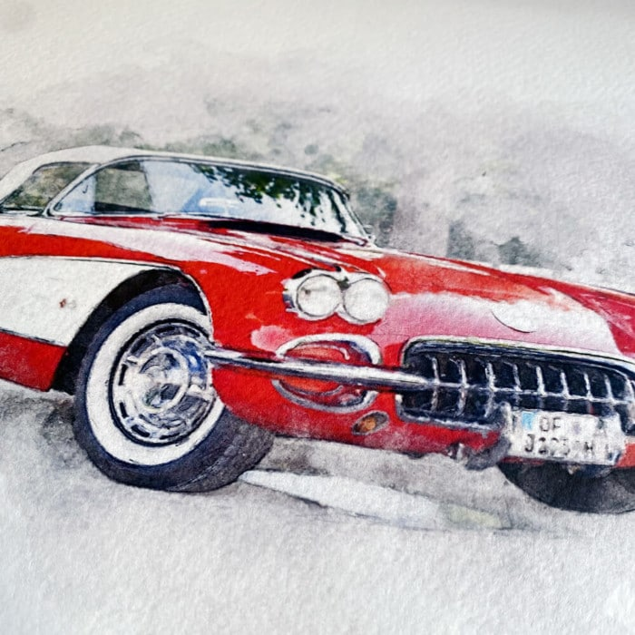Personalised Watercolour Car Print created by magic