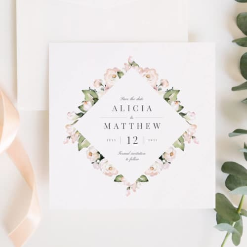 Foliage and blush save the date invitations