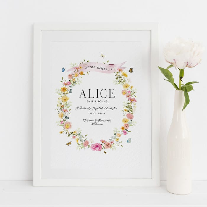 Floral New Baby Girl Personalised Print