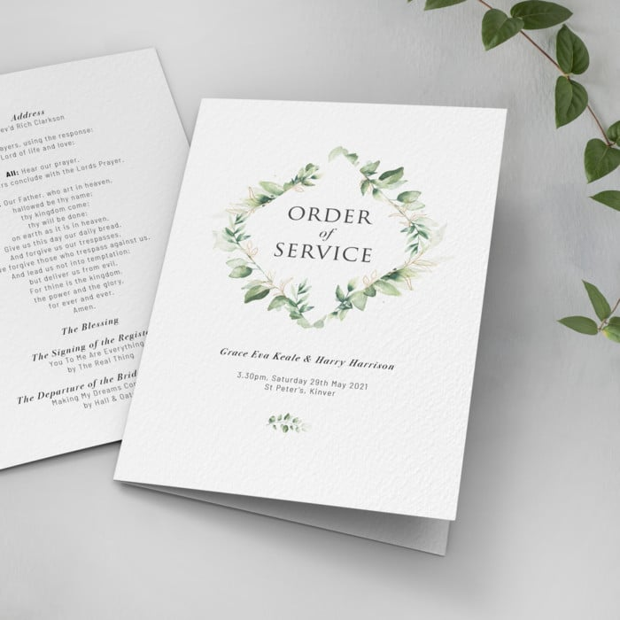 Green Foliage Order of Service Cards