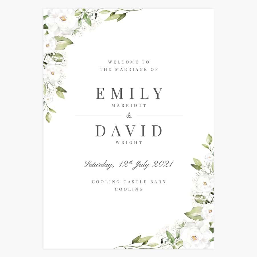 white peony and gypsophila wedding welcome signs
