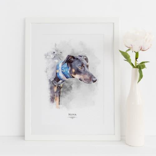 Personalised Watercolour dog Portrait Print