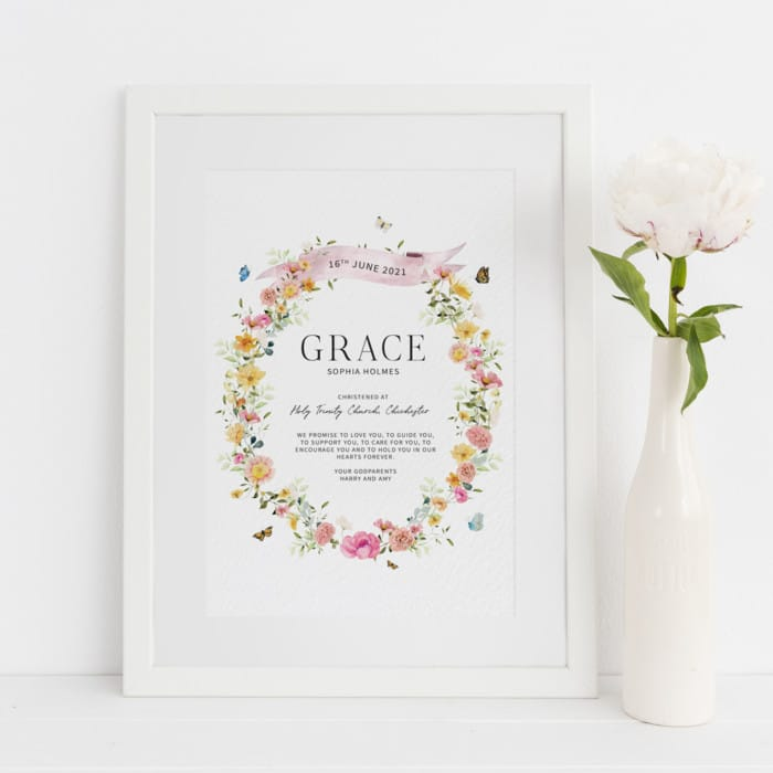 Floral Christening Gift From The Godparents Personalised Print