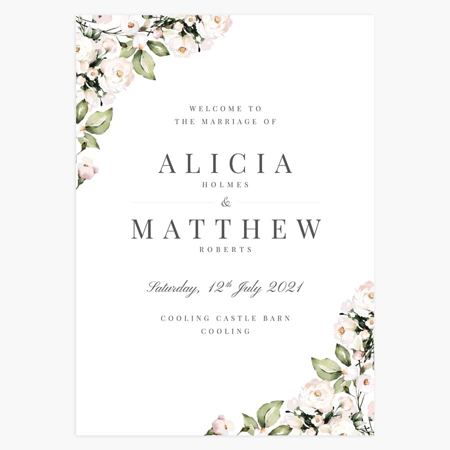 Foliage and Blush Wedding Welcome Sign