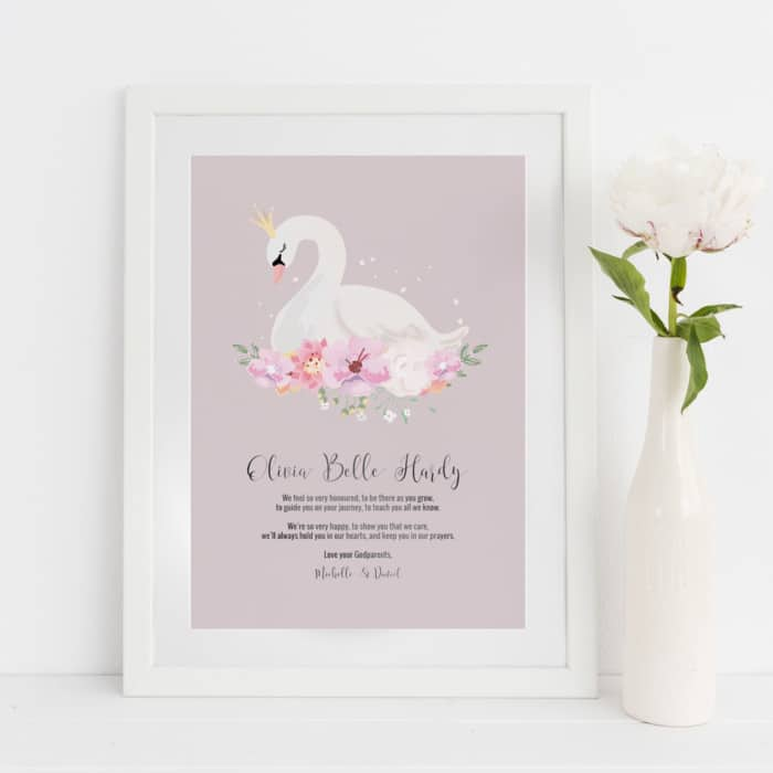 Personalised For Goddaughter Swan Print with Foil