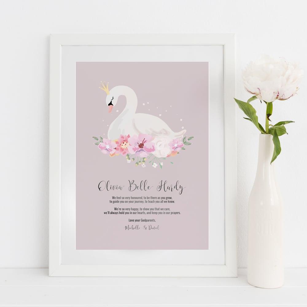 swan for goddaughter christening print