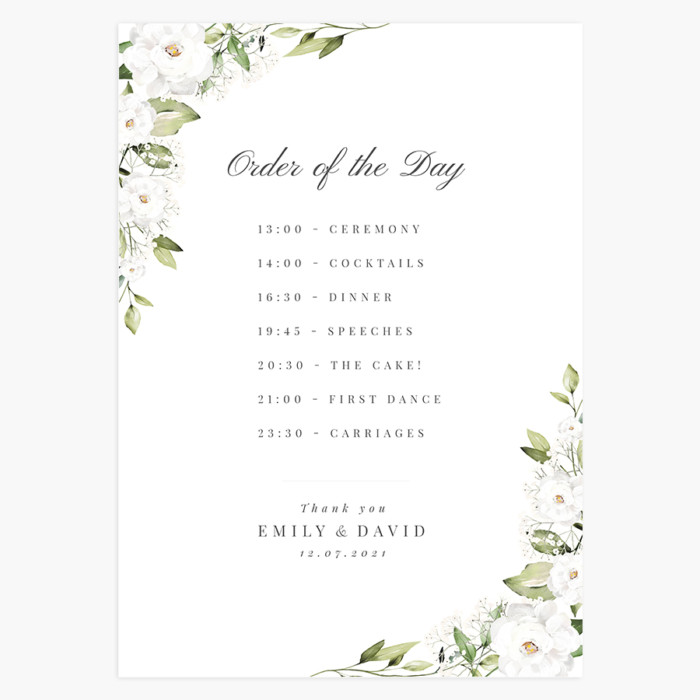 White Peony and Gypsophila Order of the Day Sign