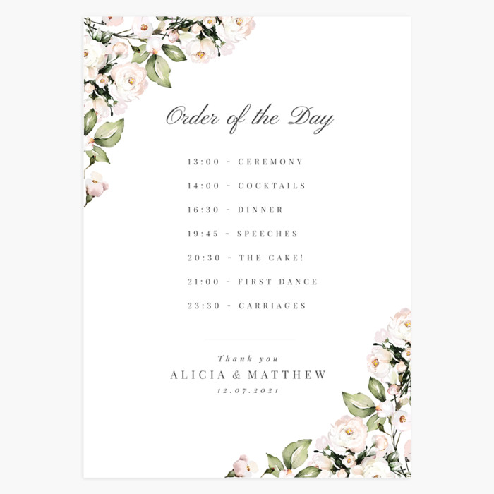 Sage and Blush Wedding Order of the Day