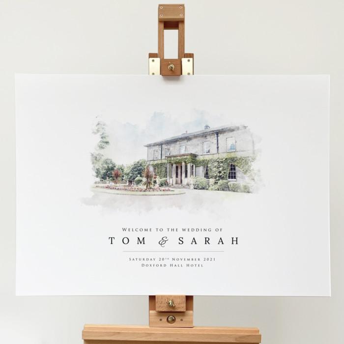 Venue Illustration Wedding Welcome Sign
